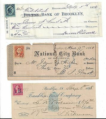 3 Brooklyn New York Bank Checks 1868-1898