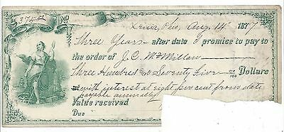1877 Xenia Ohio Promissory Note