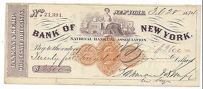 "1874 New York City Bank Check ""Maid"" RN-D1"