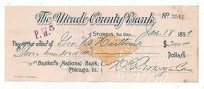 1899 Sturgis South Dakota Bank Draft RN-X7