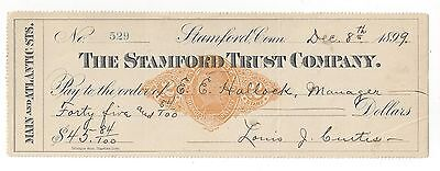 1899 Stamford Connecticut Bank Check RN-X7
