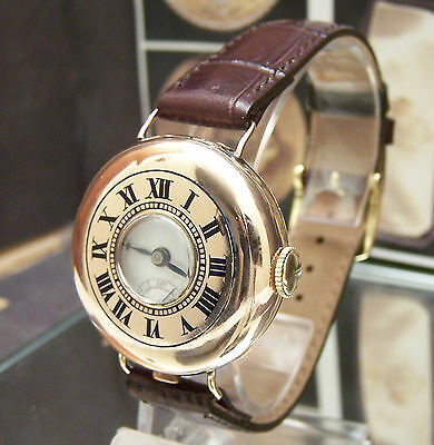 Antique Vintage 1923 J W Benson Solid Gold Half Hunter Wrist Watch Trench Style