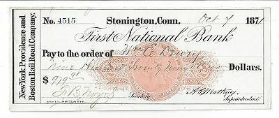 1871 Stonington Connecticut Railroad Check RN-C1