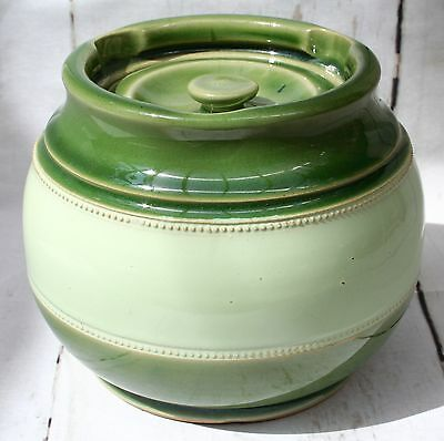 Aonian Stoneware Tobacco Jar in Two Tone Green Incised mark H on Base & Lid