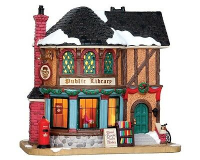 Lemax Christmas Village - Public Library (W/battery Operated Led)