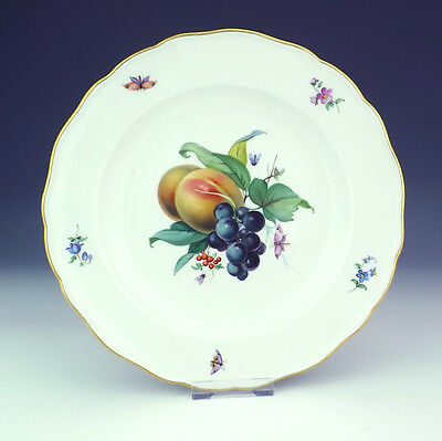 Antique Meissen Porcelain Hand Painted Fruit & Insect Decorated Plate - Nice!