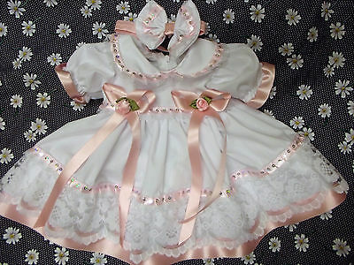 Dream Baby Girls White Pink Sequins Dress & Hbd Newborn 0-3 Months Or Reborns