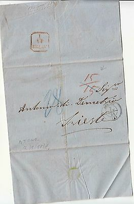 1861 GREECE Cover ATHENS-TRIEST (Austria)-Very Interesting TAX Signs-h692