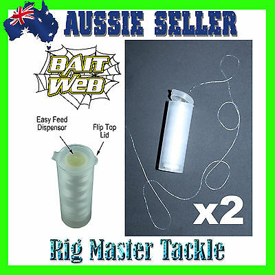 2x Bait Web 200m Spools Extruded Latex Easy Feed Dispensor Baitmate Mate Buddy