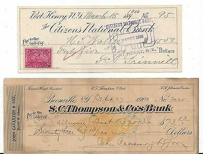 Port Henry & Boonville New York Checks 1900