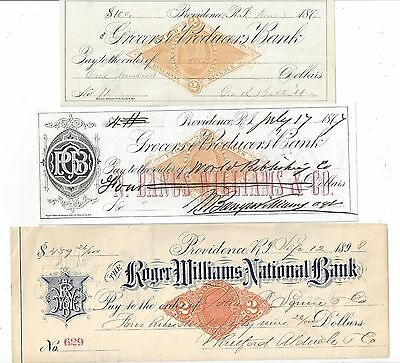 3 Rhode Island Bank Checks 1877-1898