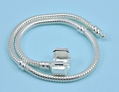 Silver plated Charm Bracelet Snake Chain with Clip Lock Clasp Jewellery Making