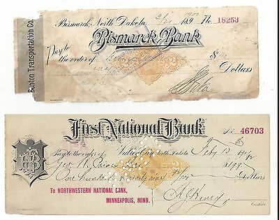 2 North Dakota Bank Check/Draft 1900-1901