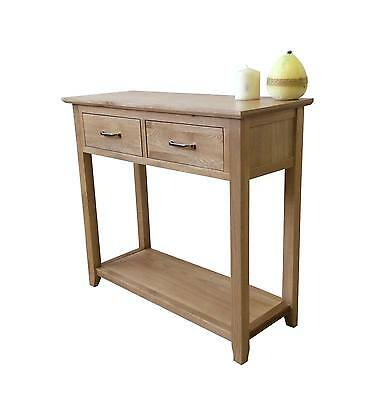 Solid Oak Console Table-Hallway Telephone Lamp Unit-2 Drawers-In Stock-F017