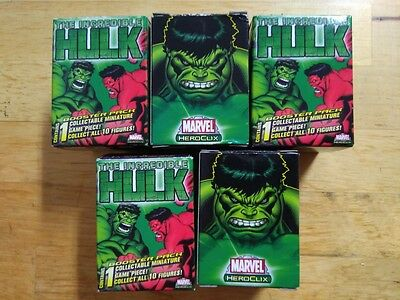 5 X THE INCREDIBLE HULK MARVEL HEROCLIX - GRAVITY FEED - 1 Minature Booster Pack