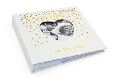 """Mr and Mrs Gold Dot Love Story Wedding Photo Album 5x7"""" Boxed 272431"""