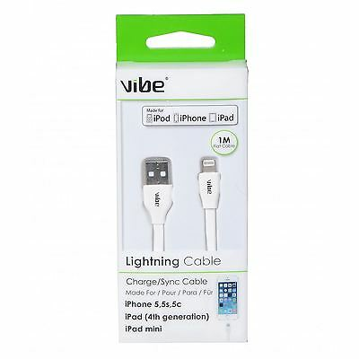 Vibe 30060 White 1M USB Lightning Sync/Charge For iPad iPhone & Apple Cable New
