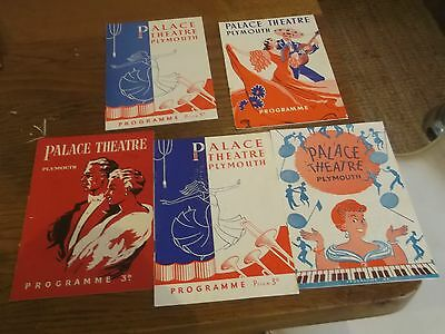 5 X 1950S Palace Theatre Plymouth Theatre Programmes
