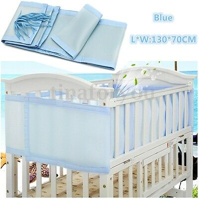 130x70cm Blue Breathable Infant Baby Bed Mesh Cot Bumper Crib Liner Protect Pad