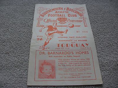 Bournemouth & Boscombe v Torquay United  21/4/51.  Division 3 (South).