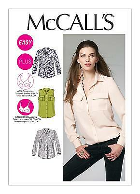 McCalls Easy SEWING PATTERN M6436 Misses/Womens Shirts 8-16 or 18W-24W