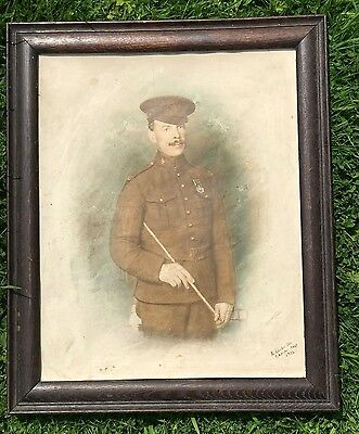 Ww1 Painting / Photo British Army Soldier London Regiment 1916 Framed Original.
