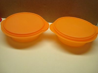 Tupperware Flat Out Expandable Orange 4 Cup Lot of 2 Vintage