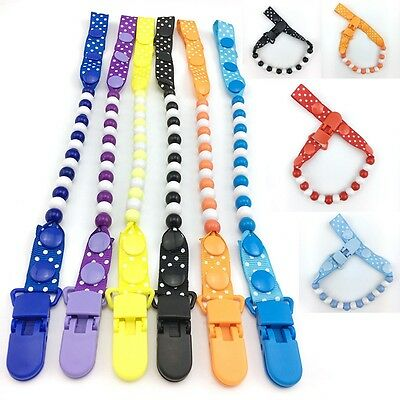 Baby Pacifier Chain Dual-color Beaded String Lovely Clip Buckle Dummy Holder