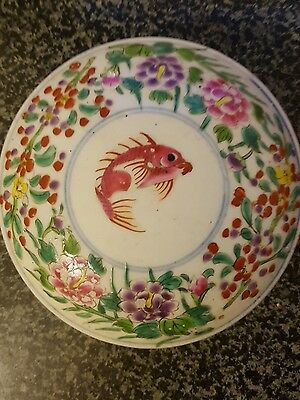 chinese antique porcelain hand painted bowl with lid coi carp floral