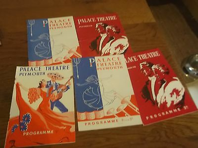 5 X 1950S Palace Theatre Plymouth Theatre Programmes -Plymouth Devon