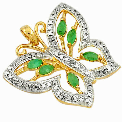 Natural diamond green emerald 925 silver 14k gold butterfly pendant s31277