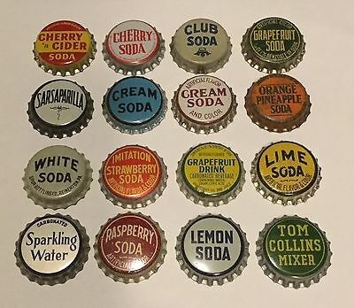 16 different unused Generic cork lined soda bottle caps (group 1)