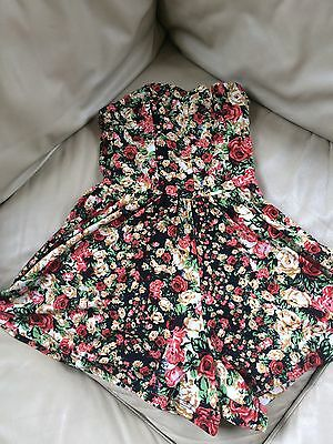 Girls Black Flowered Playsuit By Topshop Size 4