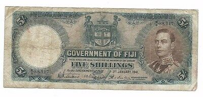 1941 Government of Fiji 5 Shillings Note w/ King George VI