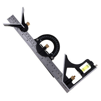 300mm Adjustable Sliding Combination Square Ruler and Protractor Level Measure