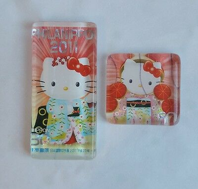 2 Hello Kitty Magnets PHILANIPPON 2011 Japanese Postage Stamps Magnets Sanrio