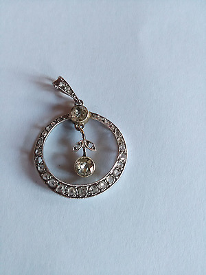 superbe ancien pendentif en or blanc 18K orné de diamants, 2 diamants de 0,40ct