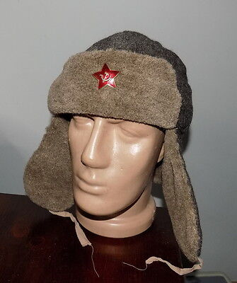 """USSR CAP WITH EAR-FLAPS OF TIMES USSR WWII 1940 Star """"HOT ENAMEL"""" #2021712517"""