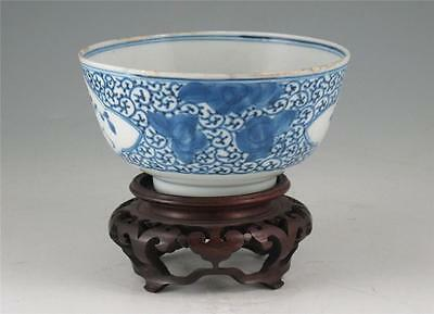 Antique 19Th C Chinese Porcelain Blue & White Bowl Flowers & Scolling Vines
