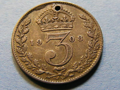 A 1908 Edward VII Silver Threepence Coin - Holed