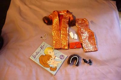 Vintage BARBIE DOLL Evening Splendor Outfit #961 RARE GOLD & RED W/ BOOKLET