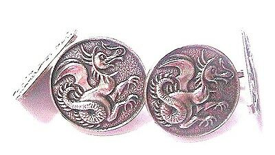 FRENCH 1940s MEN SILVER PLATED CUFFLINKS-CARVED DRAGON & LION-MADE IN FRANCE-NEW