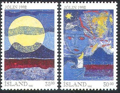 Iceland 1992 Christmas/Greetings/Candle/Moon/Fire/Mountains 2v set (n20274)