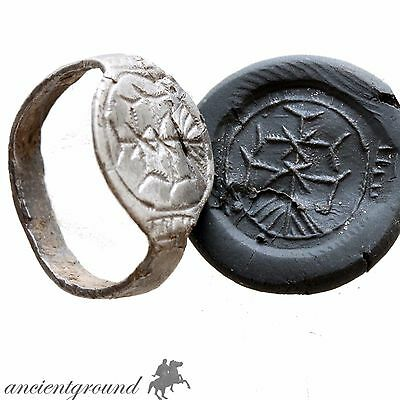 Rare Crusaders Knight Templar Silver Seal Ring Circa 1000-1200 Ad