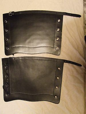 Reproduction Victorian Black leather gaiters LARGE British Army Zulu war