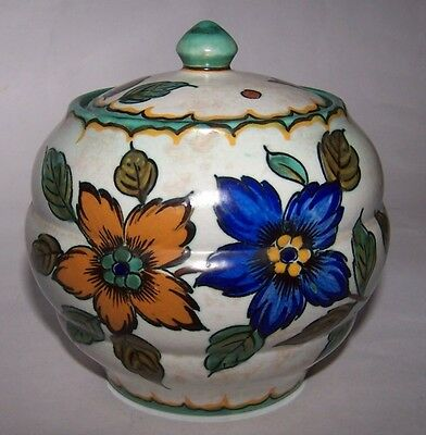 Royal Gouda Zuid Pottery Holland Lidded Bowl Floral Design
