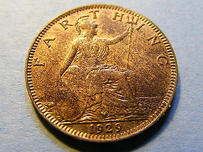 1929 George V Farthing Coin  - Much Lustre