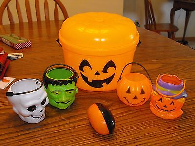 Vintage Halloween Plastic Candy Containers and Treat or Treat McDonald's Bucket
