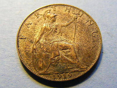 1919 George V Farthing Coin  - Much Lustre