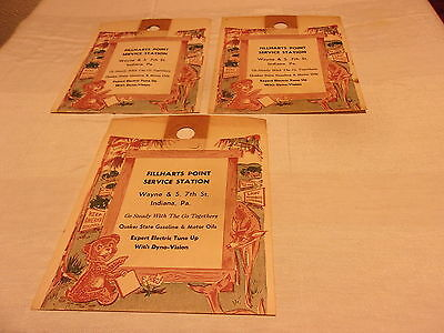 Vintage Advertising Paper LITTER BAGS Fillharts Point Service Station INDIANA PA